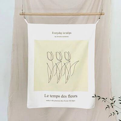 韓国カフェ風 チューリップのファブリックポスター